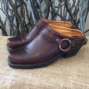 Frye Belted Harness Mules